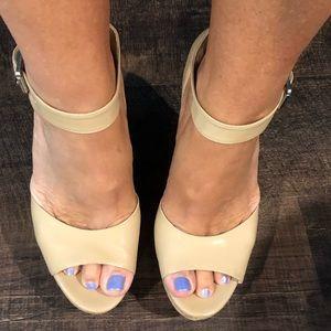 Kors platform tan patent heels